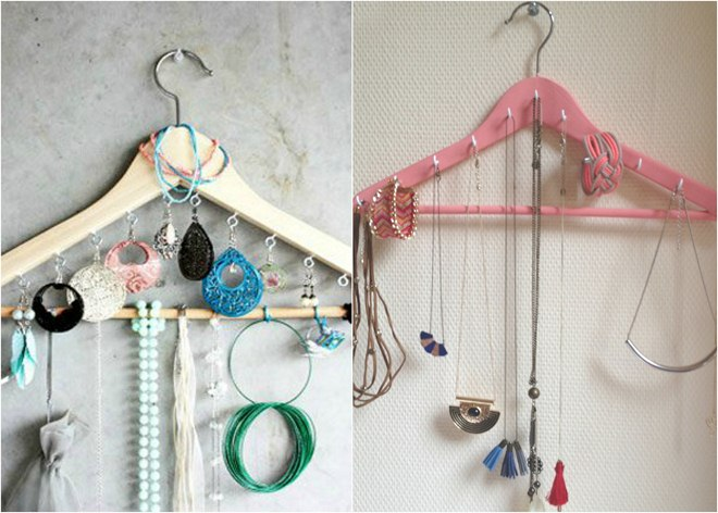 diy-jewelry-storage-ideas-clothes-hanger-earrings-necklaces
