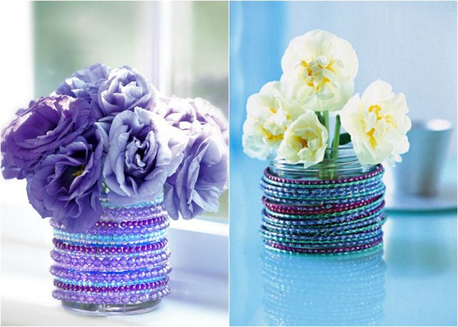diy jewelry storage ideas  glass-jars-flower-vases-bead-bracelets