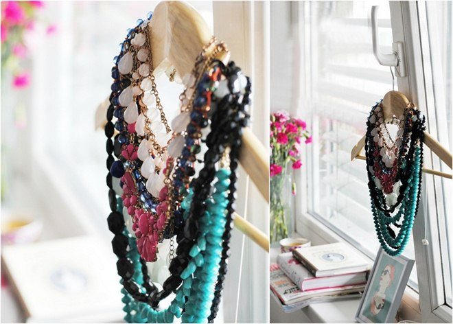 diy jewelry storage ideas -necklaces-clothes-hanger