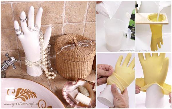 diy jewelry storage organizing plaster hand plastic glove