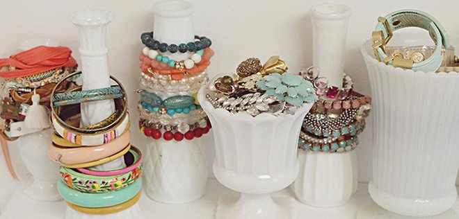 diy jewelry storage ideas white-painted-bottles-vases