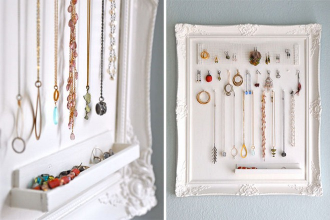 diy jewelry storage ideas white-painted-frame-piece-art