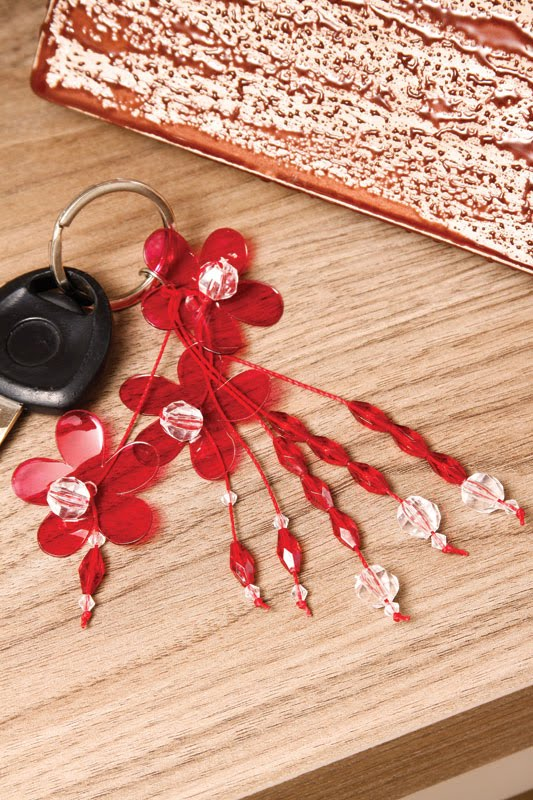 handmade keychain red flowers reuse plastic bottles gift idea