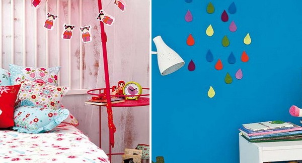 diy kids room decoration projects cute rainy clouds or sun umbrellas. Black Bedroom Furniture Sets. Home Design Ideas
