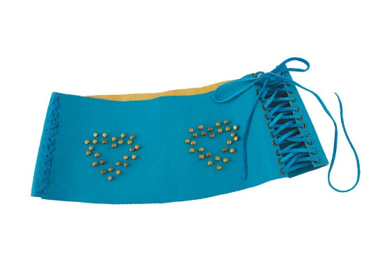diy turquoise wide belt hearts rivets suede cord