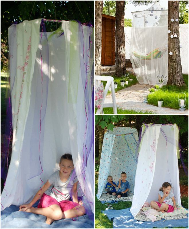 fun picnic ideas hula-hoop-curtains-no-mosquitoes-while-resting