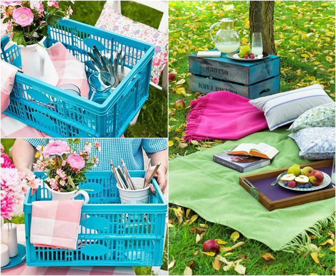 fun-picnic-ideas-plastic-wooden-crates-low-tables