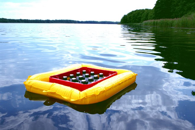 fun picnic ideas swimming-accessories-keeping-beer-cool-lake