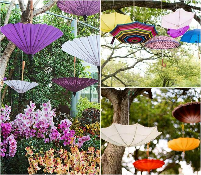 fun picnic ideas umbrellas-hanging-trees-decoration-storing-food