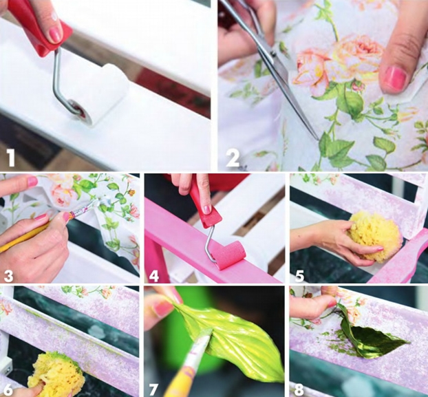 Garden decorating ideas  diy-decoupage-garden-bench-tutorial