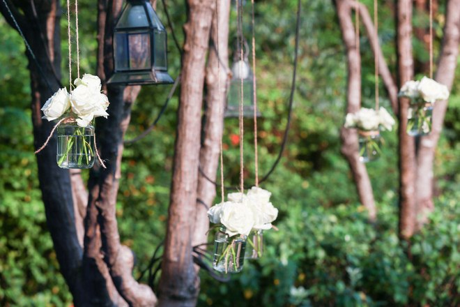 Garden Decorating Ideas Diy Glass Jars Hanging Trees White Roses