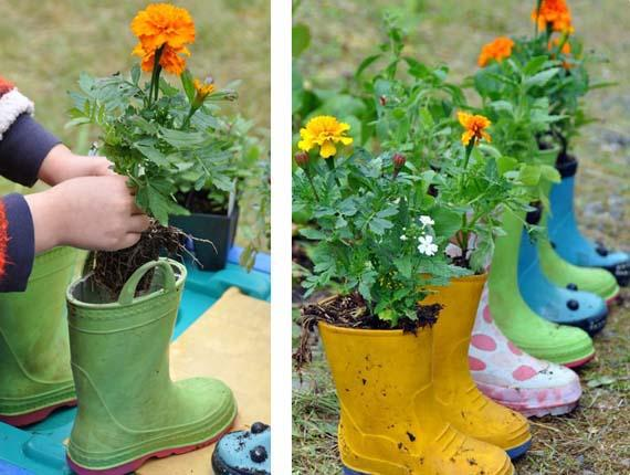 Garden Decorating Ideas Diy Kids Rubber Boots Flowers