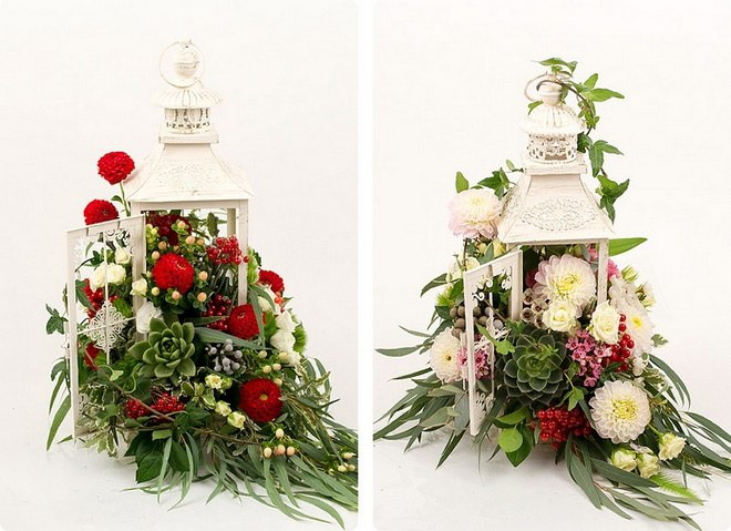 Garden decorating ideas diy-metal-candle-lanterns-flower-arrangements