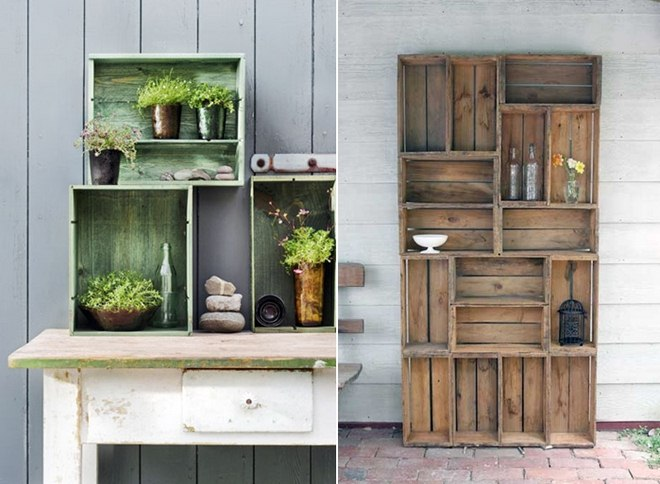 garden-decorating-ideas-diy-shelves-wooden-wine-crates