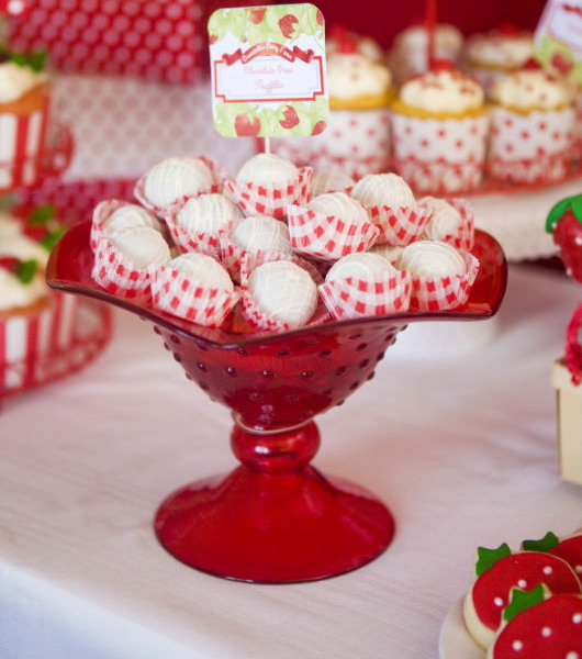 garden party strawberry theme red white cookies