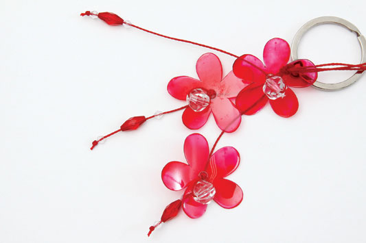 handmade keychain red plastic bottle flower