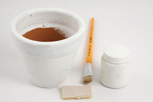 how decoupage clay pot primer white paint