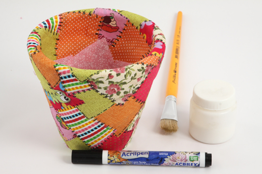 how to decoupage fabric scraps flower clay pot