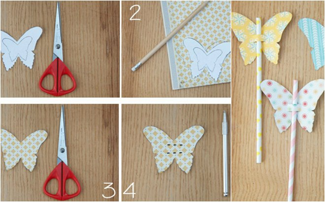 how-to-make-paper-butterflies-decorations-drinking-straws
