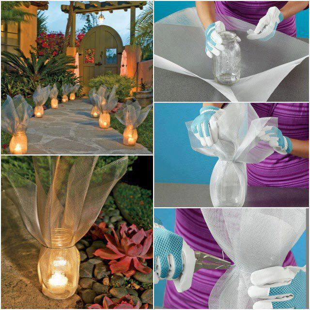 Outdoor Decorating Idea Pathway Glass Jars Wire Mesh