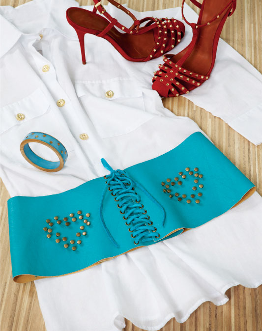 summer DIY fashion projects accessories wide turquoise belt corset