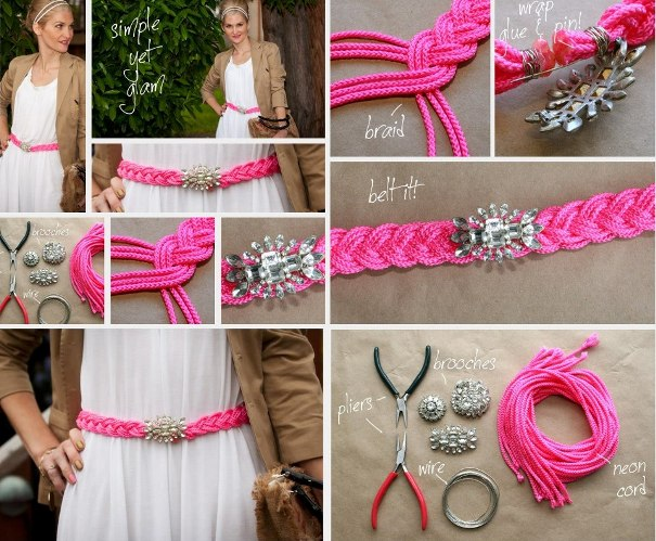 summer DIY fashion projects accessories braided belt broach