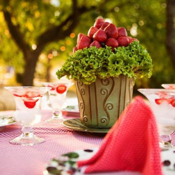 summer garden party strawberry theme centerpiece bouquet