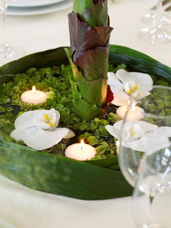 Summer garden party table-centerpiece-white-orchids-tea-lights-green