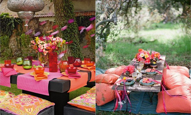 Summer garden party: Table decorating ideas in exotic colors