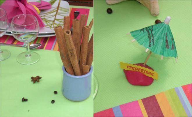 summer-garden-party-table-green-tablecloth-cinnamon-sticks-paper-umbrella-place-card