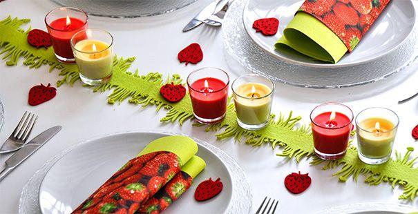 summer garden party theme red vanilla candles napkins