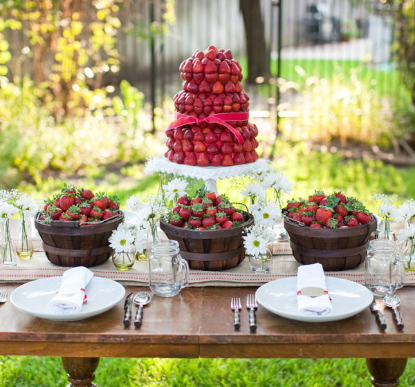 summer garden party theme table strawberries basket cake