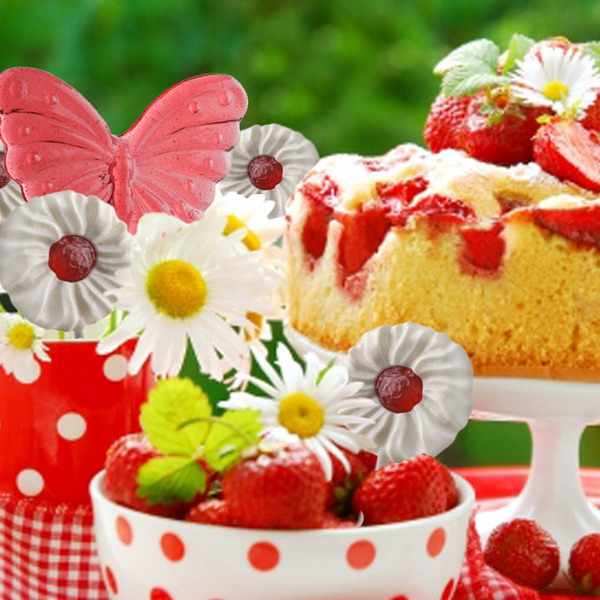 summer garden strawberry theme polka dots tableware