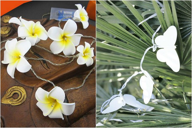 table-decoration-ideas-summer-string-lights-frangipani-butterflies