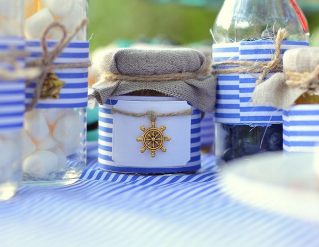 table-setting-beach-themed-party-blue-white-striped-tablecloth-jars