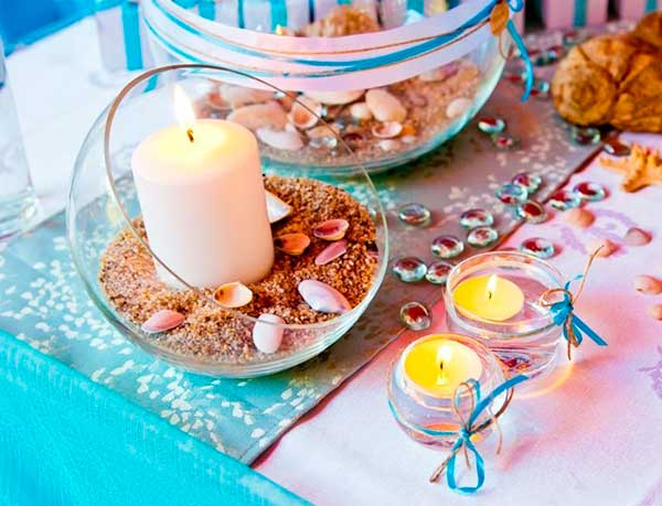Table Setting Beach Themed Party Candle Holders Decor