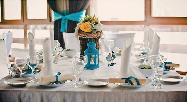 Table Setting Beach Themed Party Wedding