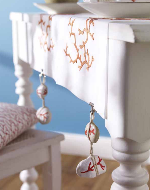 tablecloth weight idea stones rope coral painting
