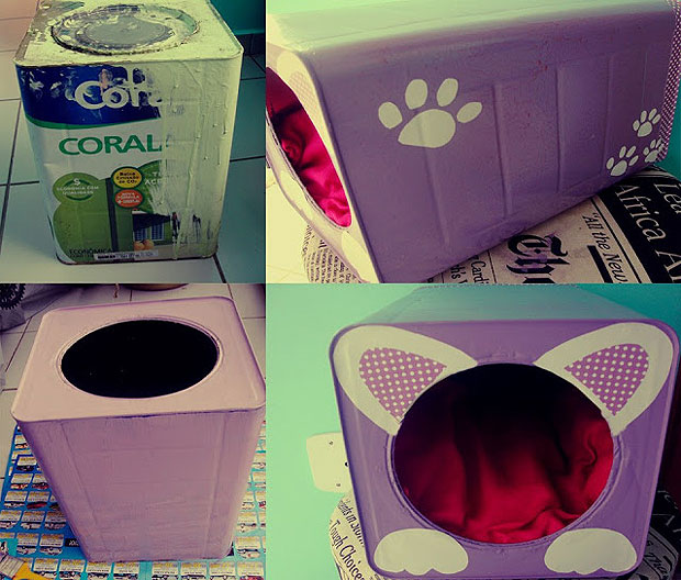 upcycling idea pet bed old tin paint can