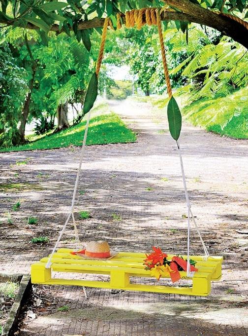 wood pallet projects garden tree swing yellow diy