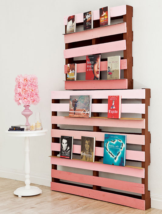 wood pallet projects home diy shelf pink books