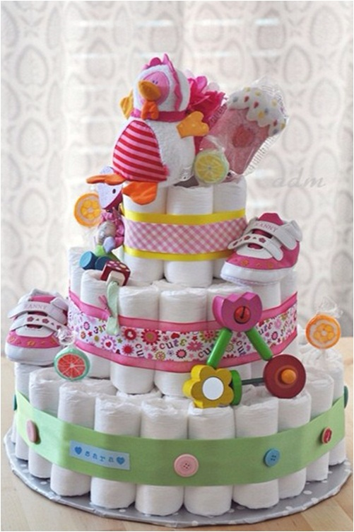 baby shower ideas diaper cake gift baby girl shoes decorative items