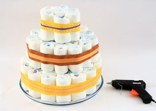 baby shower gift ideas felt satin ribbons tiered diaper cake