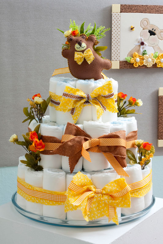 baby shower gift ideas neutral yellow brown teddy bear wide felt ribbons bows