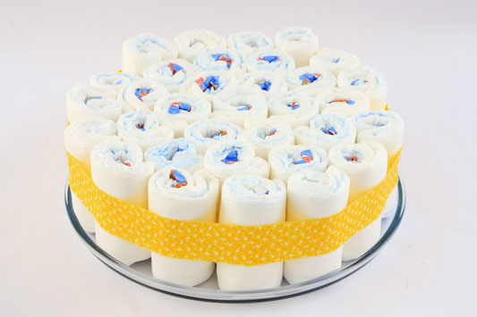 baby shower decoration idea make diaper cake three layer felt ribbon