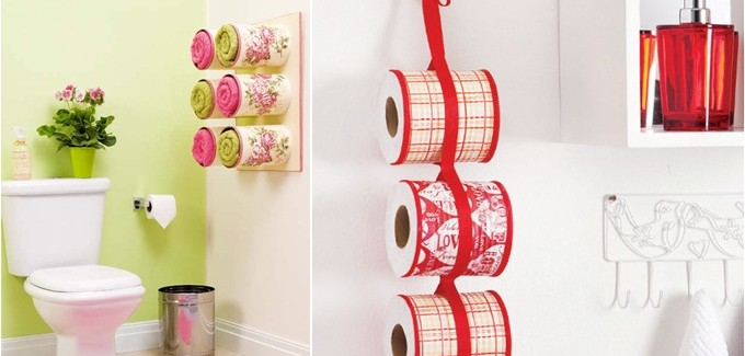 Bathroom organizing ideas - Towel storage made of decoupaged tin cans