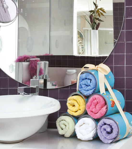 bathroom organizers projects towel storage idea tin cans pyramid