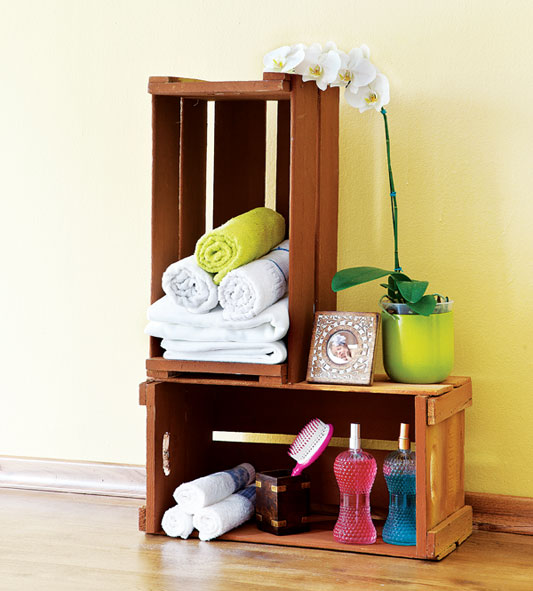 cheap diy furniture projects reusing wooden wine crates towel storage