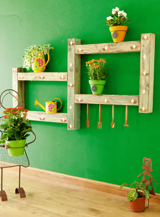 cheap diy furniture projects wooden planter shelf garden tools