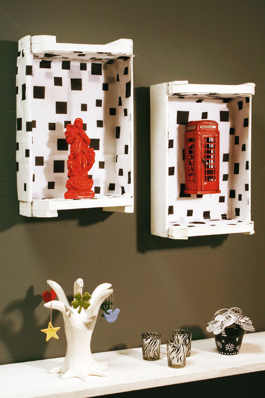 cheap diy furniture wall shelves wooden wine crates fabric decoupage